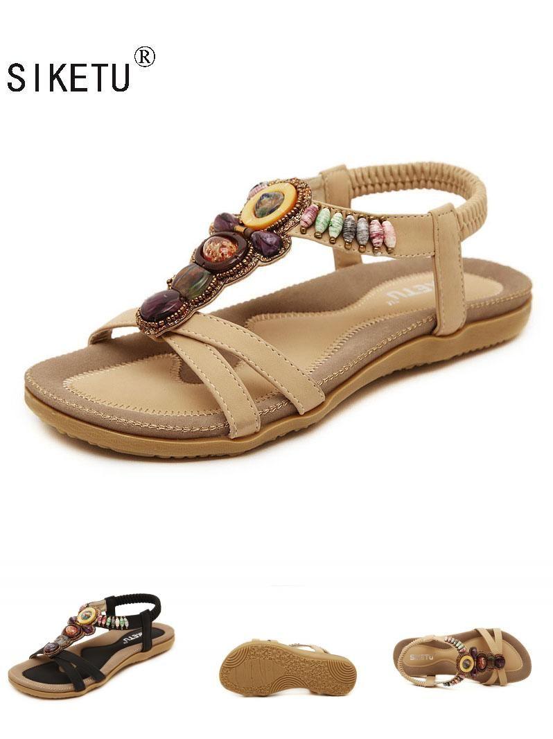 4684655f9304  Visit to Buy  SIKETU Free Shipping 2017New National Style Women Sandals  Bohemia Flats Beaded