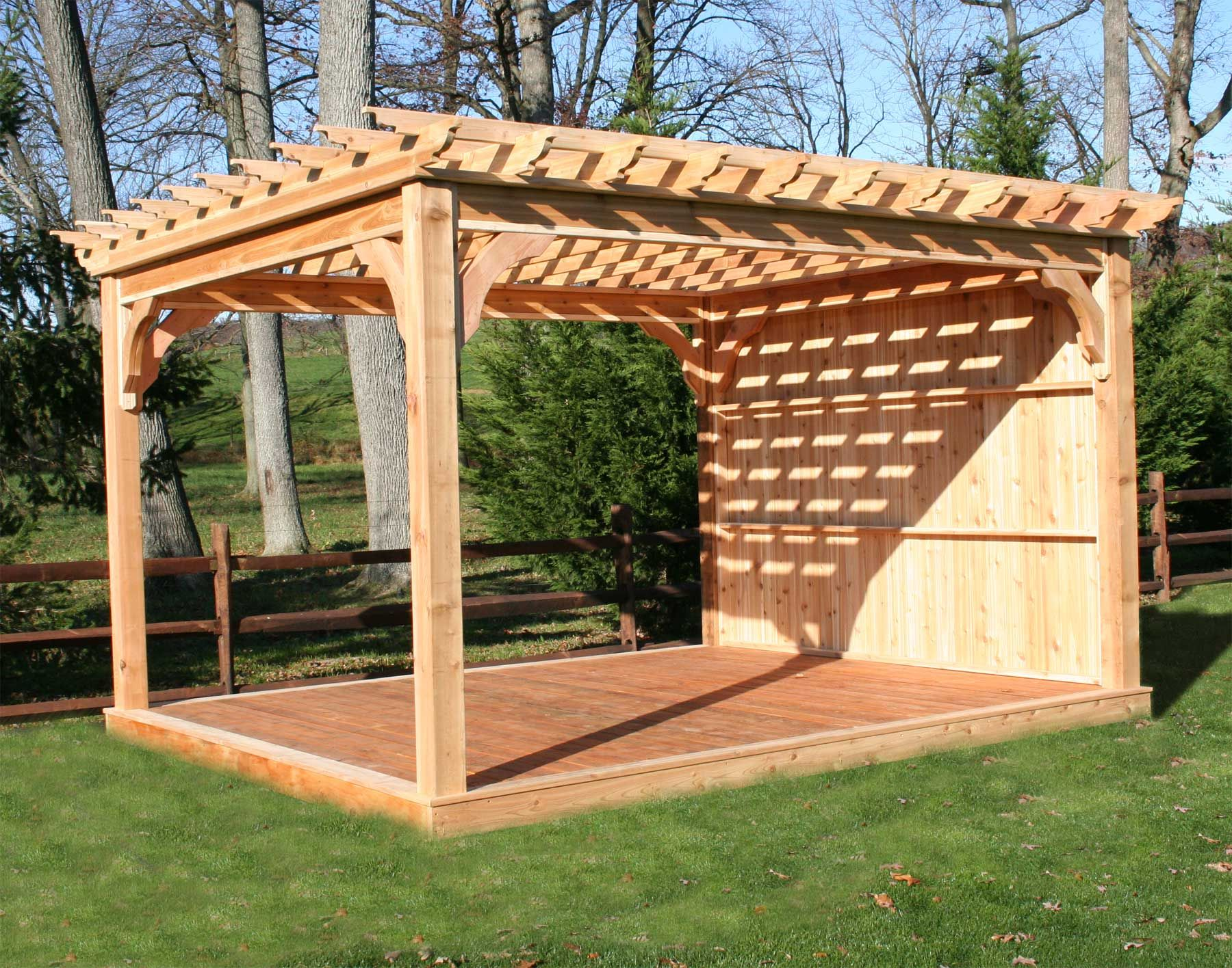 Red cedar free standing 4 beam pergolas 6x6 posts 2x6 for Patio plans free