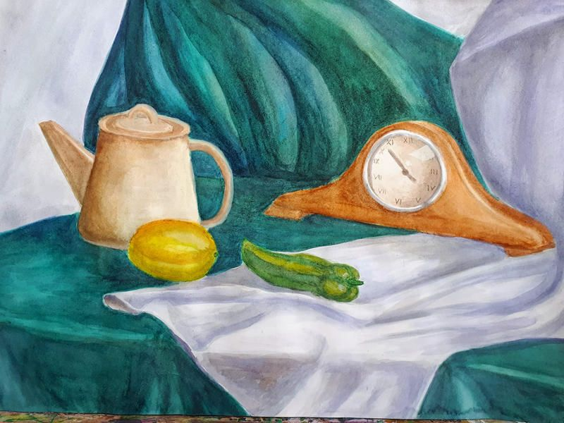 Nature Morte Clock Pot Lemon Pepper On Drap By Tatevikart On