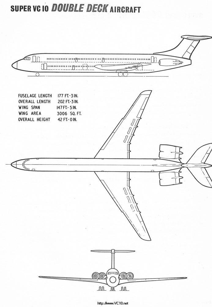 Here are the 3-view GA ('General Arrangement') drawings for the double-deck VC10 Superb, which never came to be. Note the dimensions.