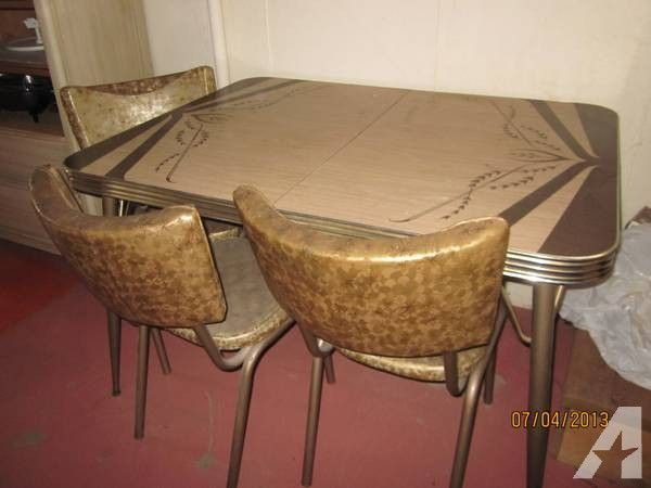 1950 S Chrome Brown Dinette Set 160 Dinette Sets Kitchen Table Settings Retro Dining Table