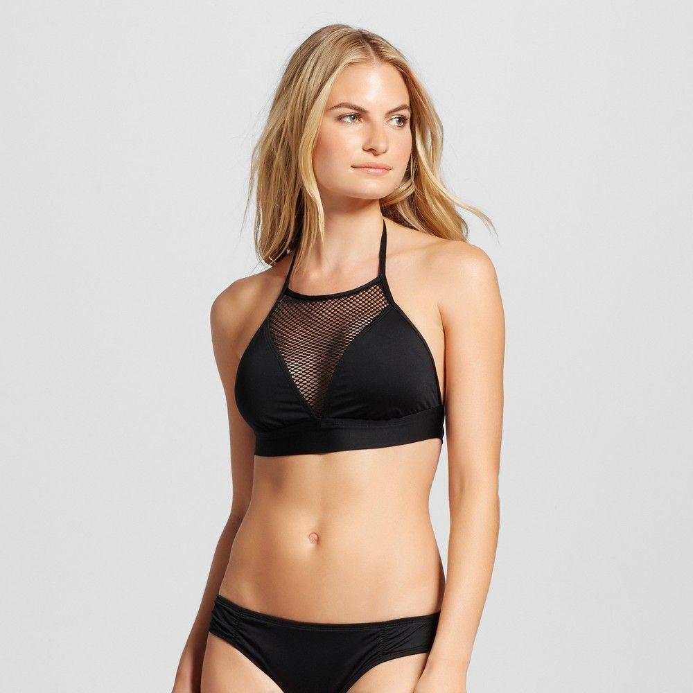 03eef7af5f Women s Mesh High Neck Halter Bikini Top - Black - S - Mossimo ...