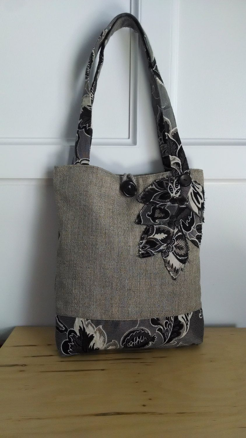 black tote bag brown purse floral handbag travel tote book bag handmade tote bag fabric. Black Bedroom Furniture Sets. Home Design Ideas