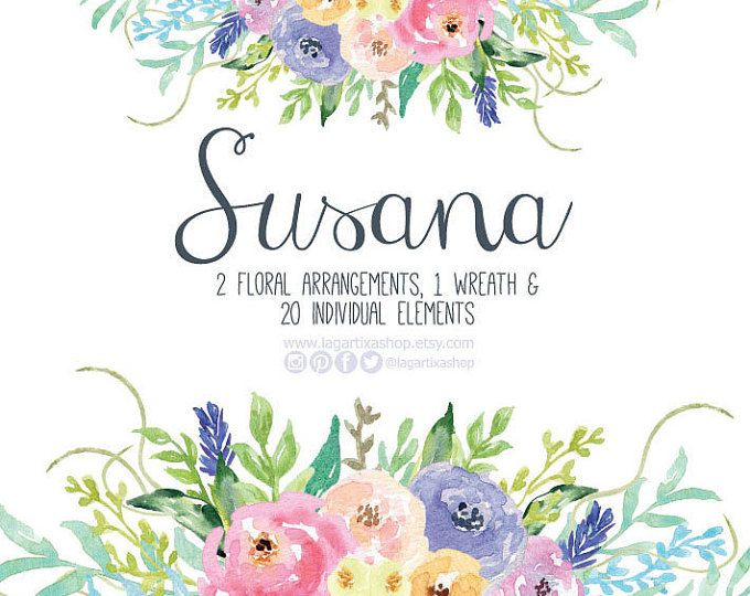 Watercolor Clipart, Floral Frame PNG, Wedding Bouquet