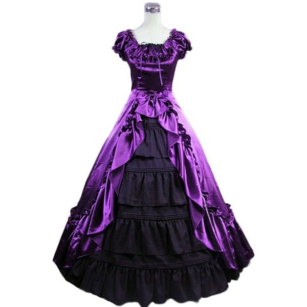 Amazon.com: AvaLolita Elegant Cap Sleeves Purple and Black Gothic... ($130) ❤ liked on Polyvore featuring dresses, purple cocktail dresses, cap sleeve dress, cap sleeve short dress, gothic victorian dresses and goth dresses