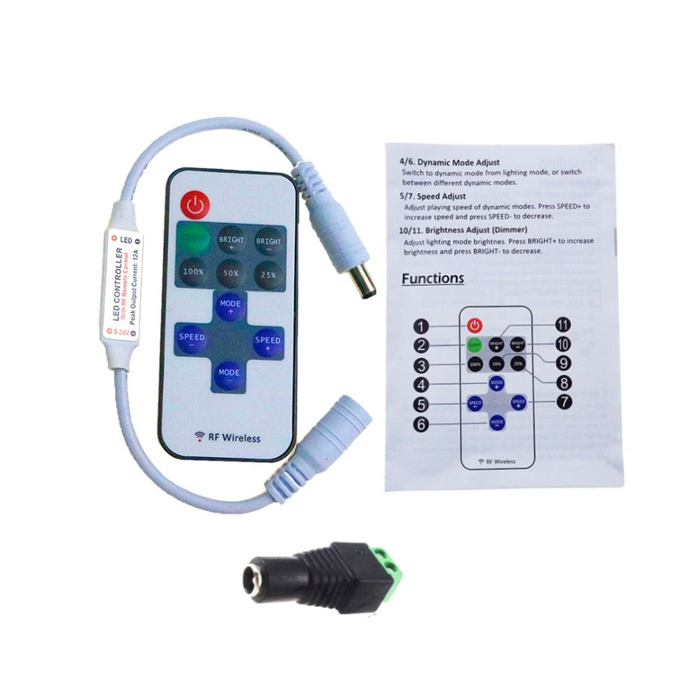 11keys Led Controller with RF Remote Wireless dimmer + DC