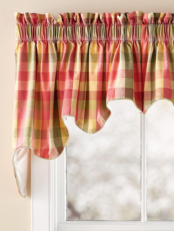 Moire Plaid Princess Duchess Lined Swag Pair Swag Curtains