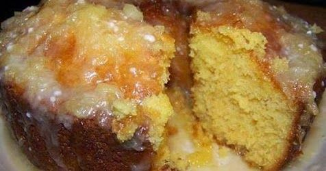 1 yellow cake mix   1 small box vanilla pudding mix   4 eggs   1/3 cup oil   20 oz. can crush pineapple, divided     Glaze   ¼ cu...