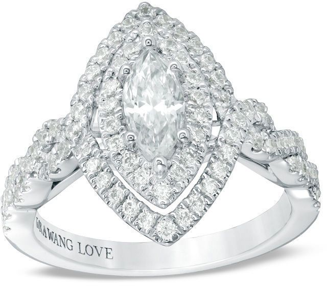 Zales Vera Wang Love Collection 1-1/3 CT. T.W. Marquise Diamond ...