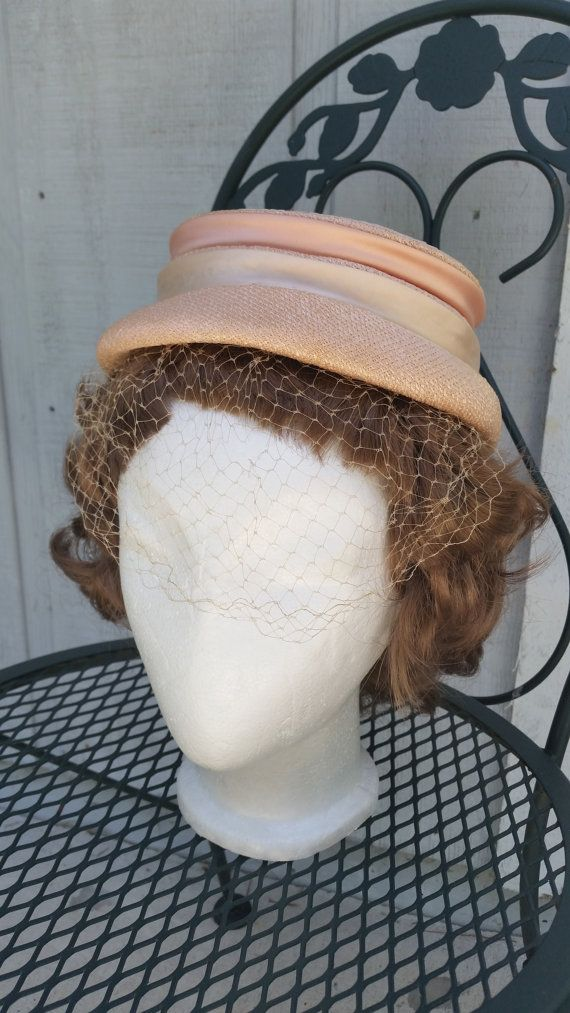 Vintage Stunning 1960's peach straw hat with by SteamyAntiquities