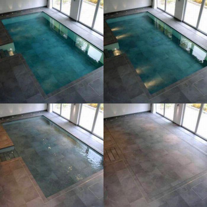 Indoor Pool That Converts Into Event Space Indoor Pool Hidden Water Pool My Dream Home