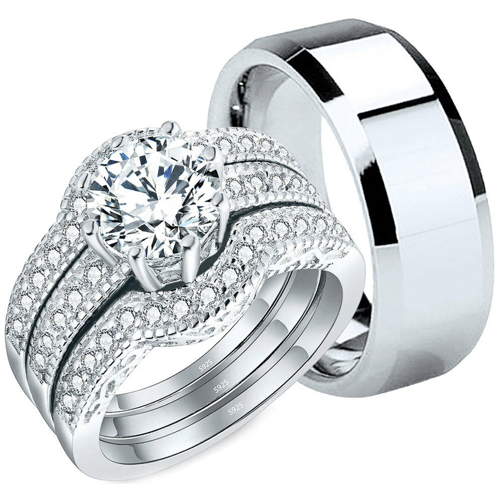 Wedding Ring Sets His And Hers Best 4 Pcs His Tungsten