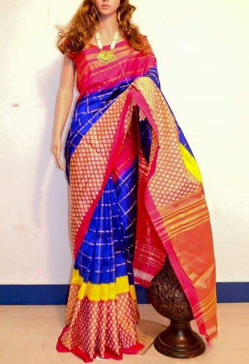 3196c1bc6f4af0 Blue Desiger Ikkat Saree | Clothes all kinds in 2019 | Silk sarees ...