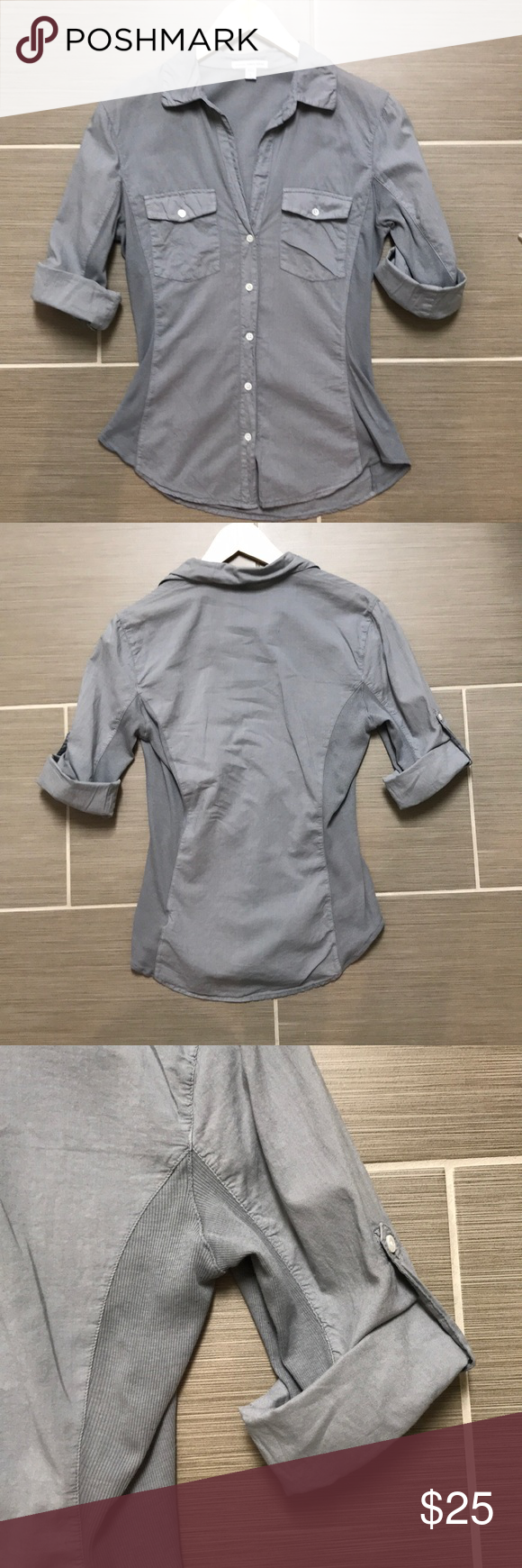 7a0ba9f9 James Perse 3/4 Sleeve Button Down Size 2 Grey James Perse Grey Button-