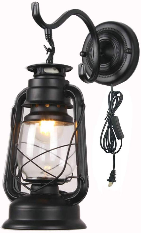 Amazon Com Zjztd Kerosene Wall Sconce Plug In Lantern Wall Lamp E27 Metal Glass Shade Living Room Bedroom Bedside Hotel Lamp Color Wall Lights Lamp Wall Lamp