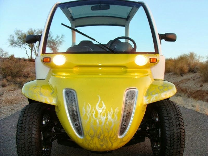 Custom GEM car, yellow flames Custom golf, Gem cars