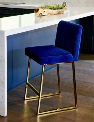 Linden Bar Stool In Brass In Navy Blue Velvet Bar Stools