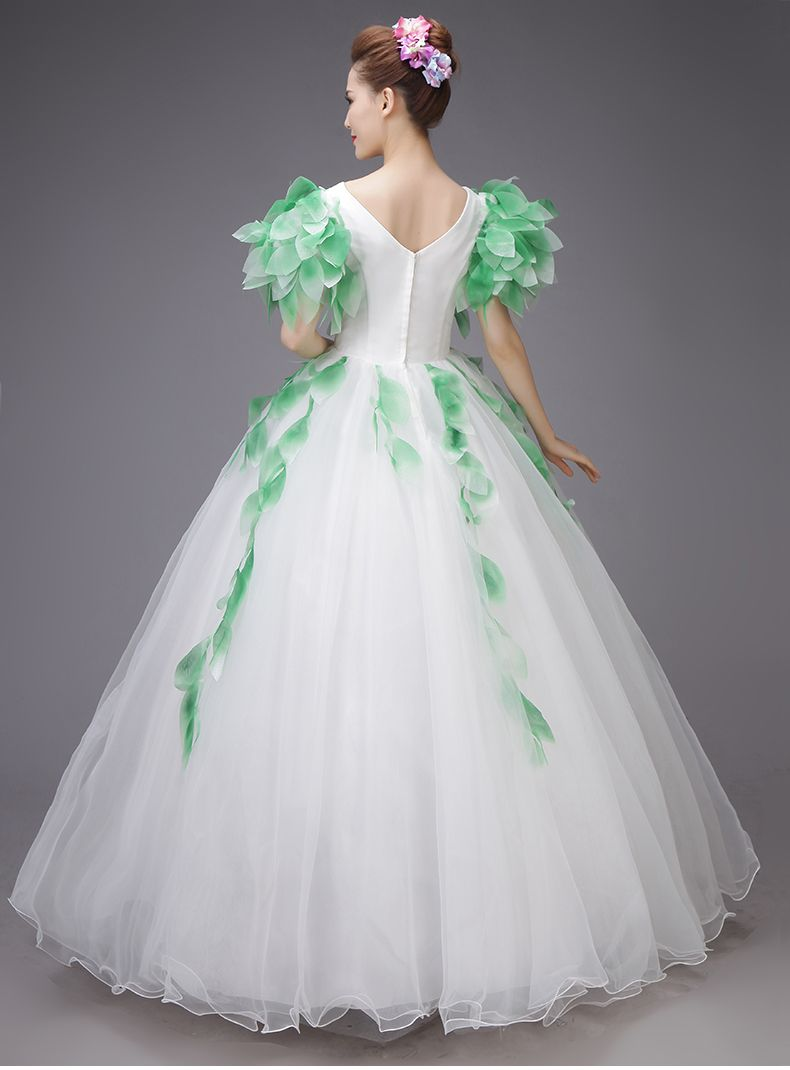 green leaf vine fairy cosplay ball gown medieval dress Renaissance ...