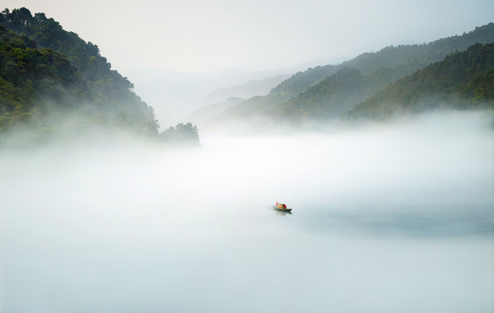 Foggy Tales - early morning and another foggy story  in the lake of Dongjiang