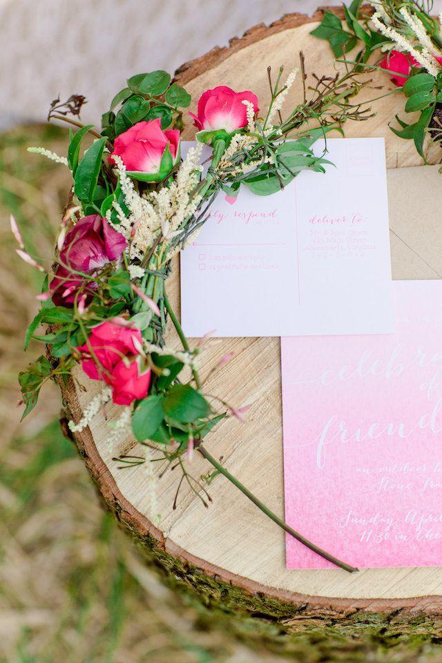 Pink watercolor invitations | Cassandra Photo | see more on: http://burnettsboards.com/2014/08/bohemian-bridal-shower-smitten-magazine/