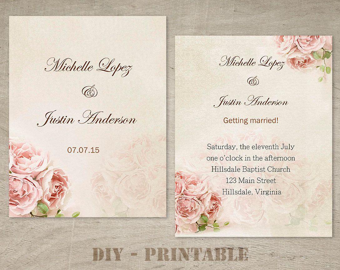 Wedding Invitation Template Wedding Invitation Printable Vintage