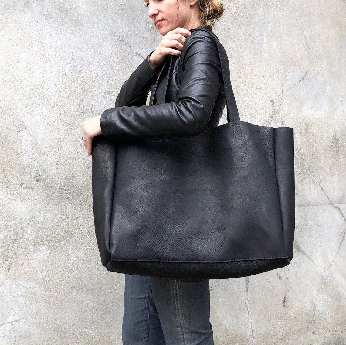 Sale!! Zipper tote bag Leather shopper tote Gray Extra large leather tote bag purse small tote bag purse handmade tote Small