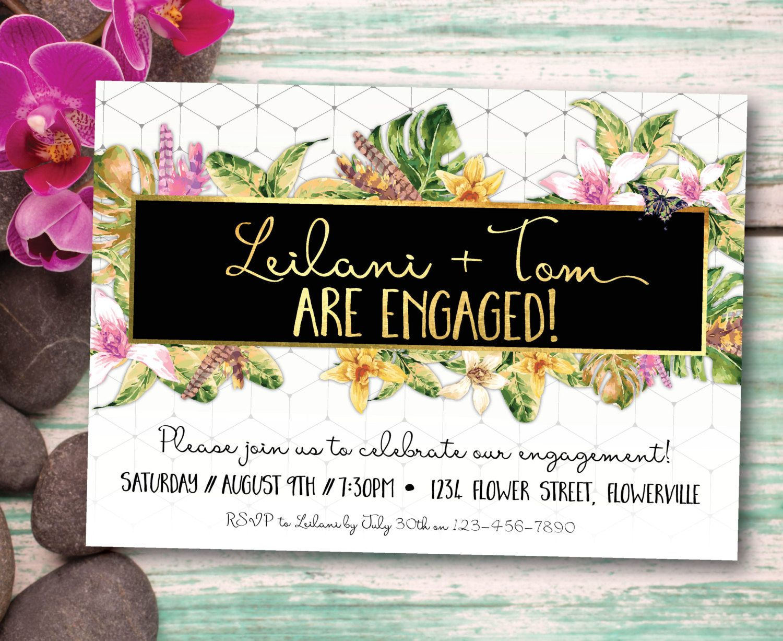 Tropical engagement invitation, engagement invitation, tropical engagement  invite, white, gold, aloha