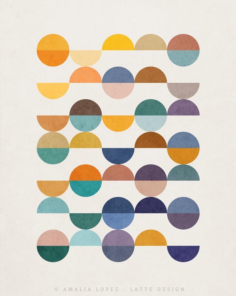 Equal Parts 2. Geometric print geometric art print Mid century | Etsy