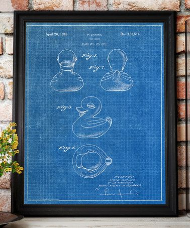 Look what I found on #zulily! Rubber Ducky 1949 Patent Blueprint Art - fresh blueprint paper color