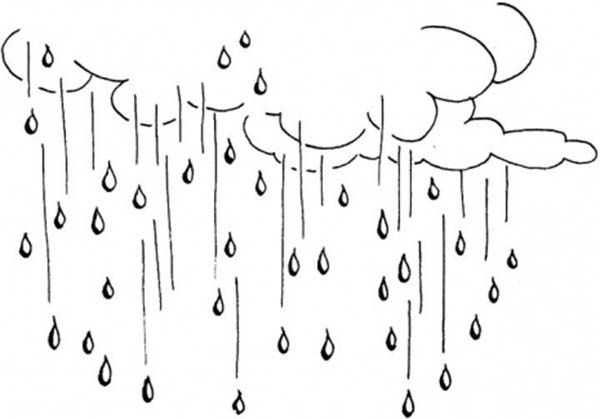 Raining Day Raindrop Falling From The Sky Coloring Page Color