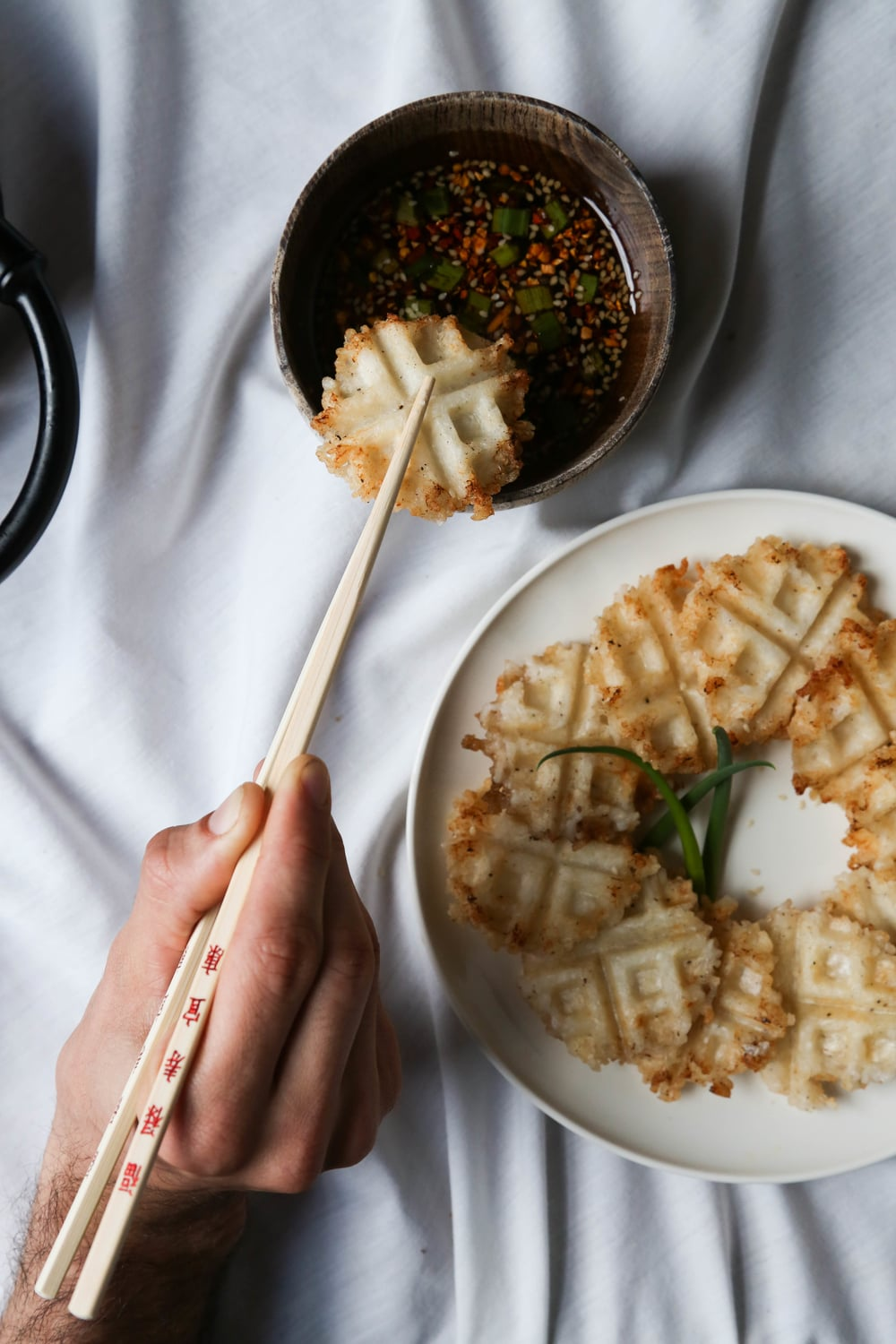 Sticky Rice Waffle Bites + Sesame Ginger Dipping Sauce — Probably This