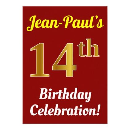 Red faux gold 14th birthday celebration name card birthday red faux gold 14th birthday celebration name card birthday invitations diy customize personalize card party filmwisefo