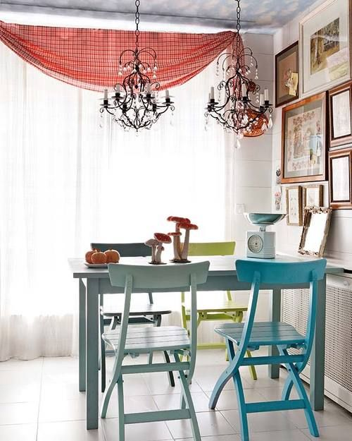 Small Dining Table Interior Design Interior House Interior Beautiful cute dining room colorful