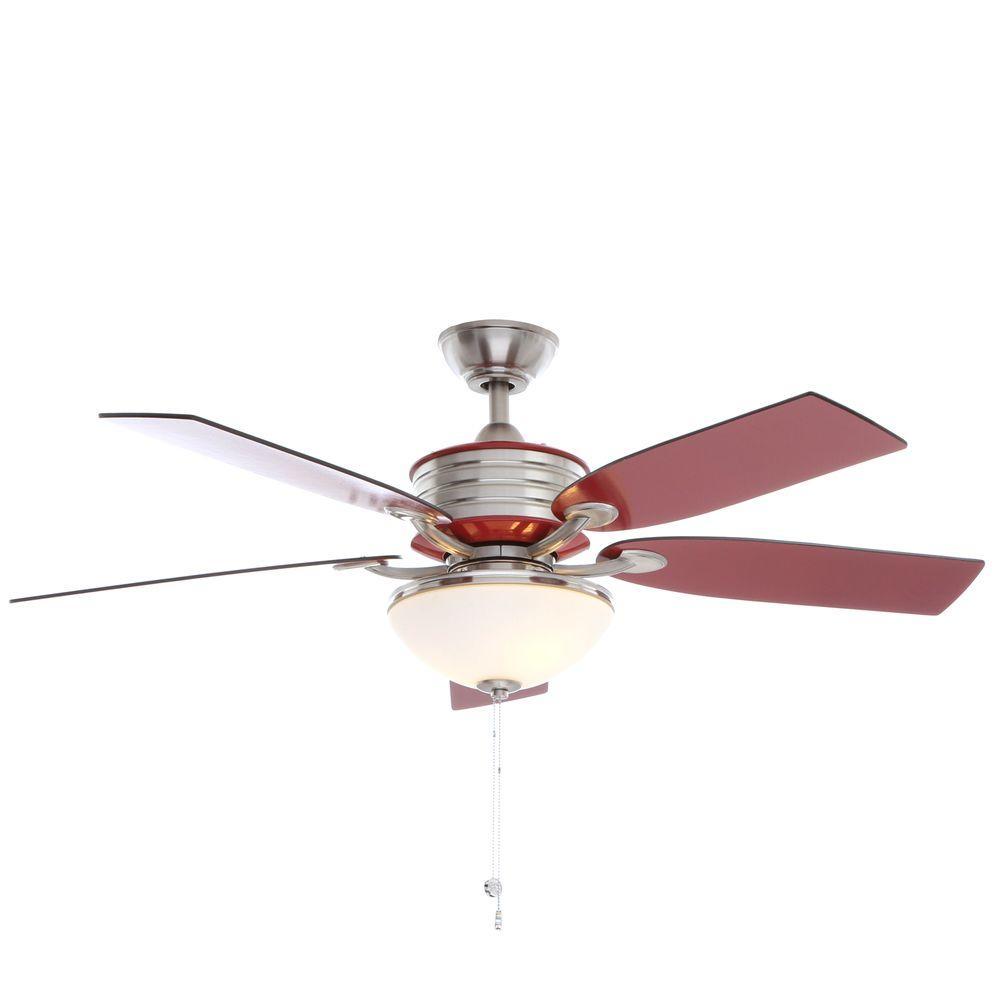Hampton Bay Santa Cruz 52 In Indoor Brushed Nickel Ceiling Fan