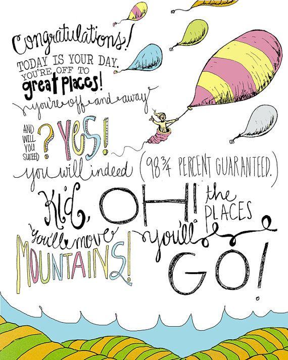 Dr Seuss Oh The Places Youll Go 8x10 Wall Print By Everydayatlas