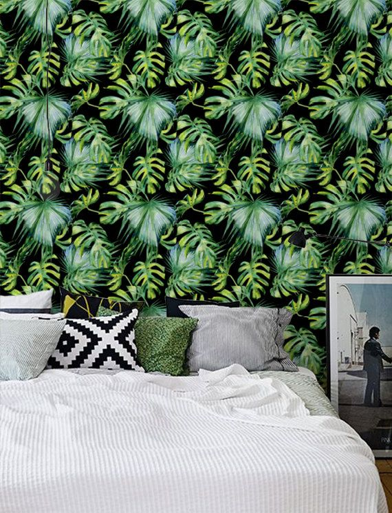 Tropical Leaf Removable Wallpaper / Self Adhesive Removable Wallpaper / Wall  Mural / Wall Covering