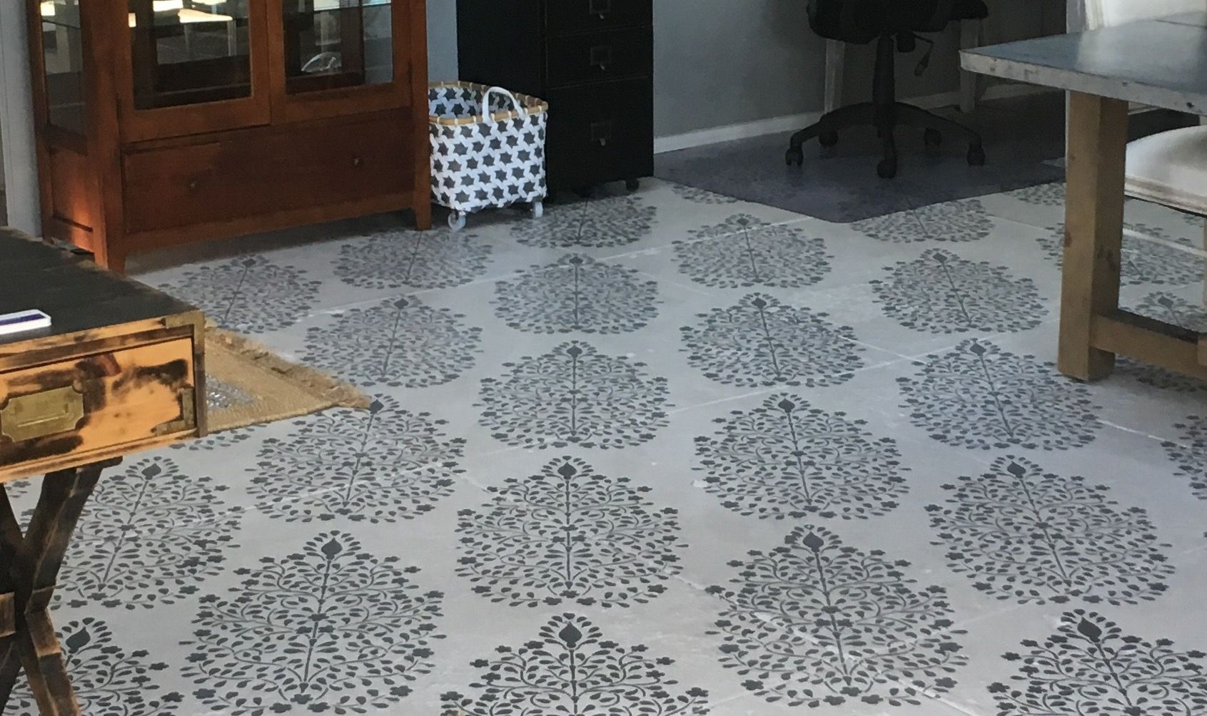 Stenciled floor innovative and very cost effective infinite possibilities