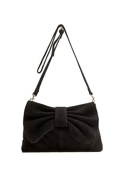 MANGO - Leather messenger bow handbag
