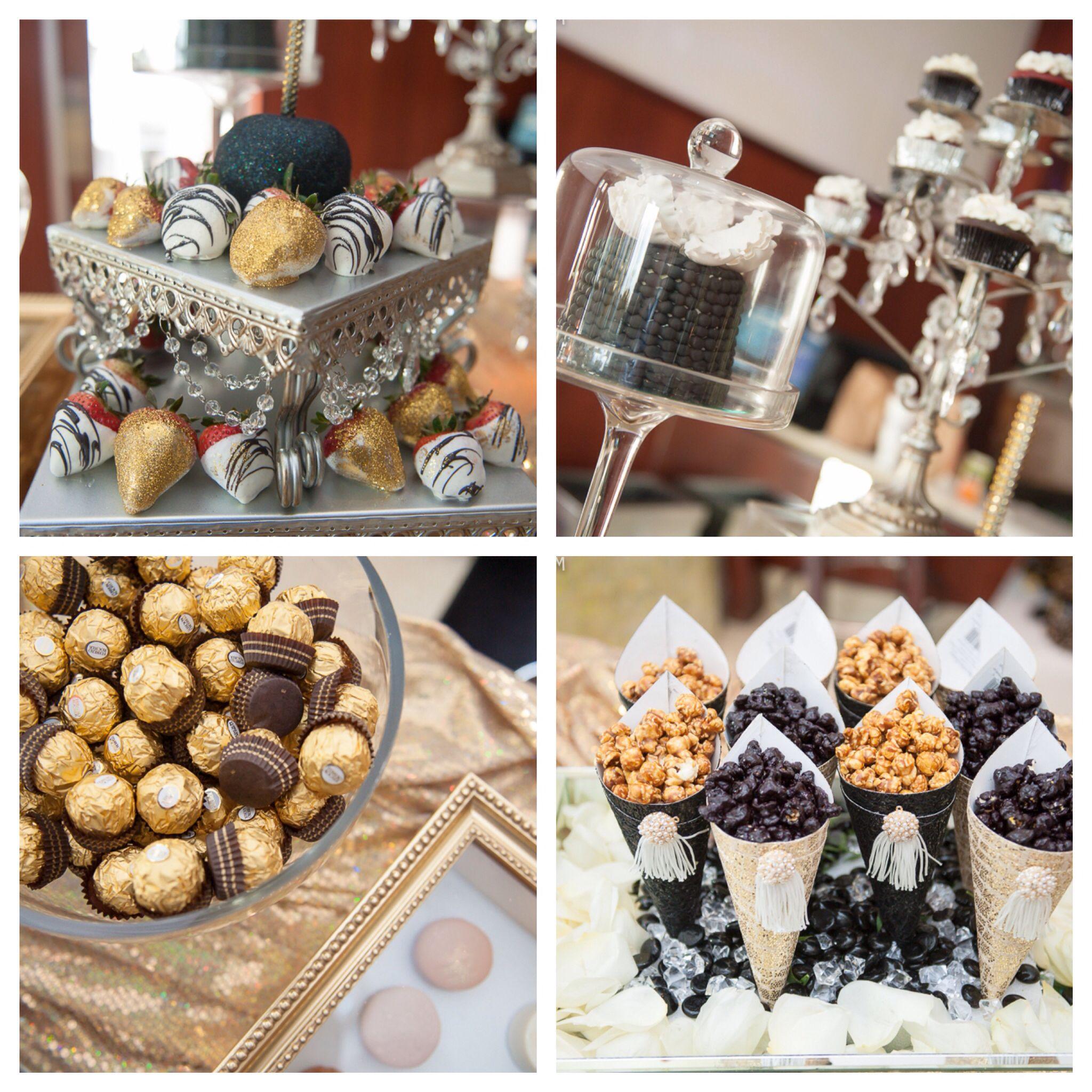 Great gatsby birthday brunch dessert table Dine Design by