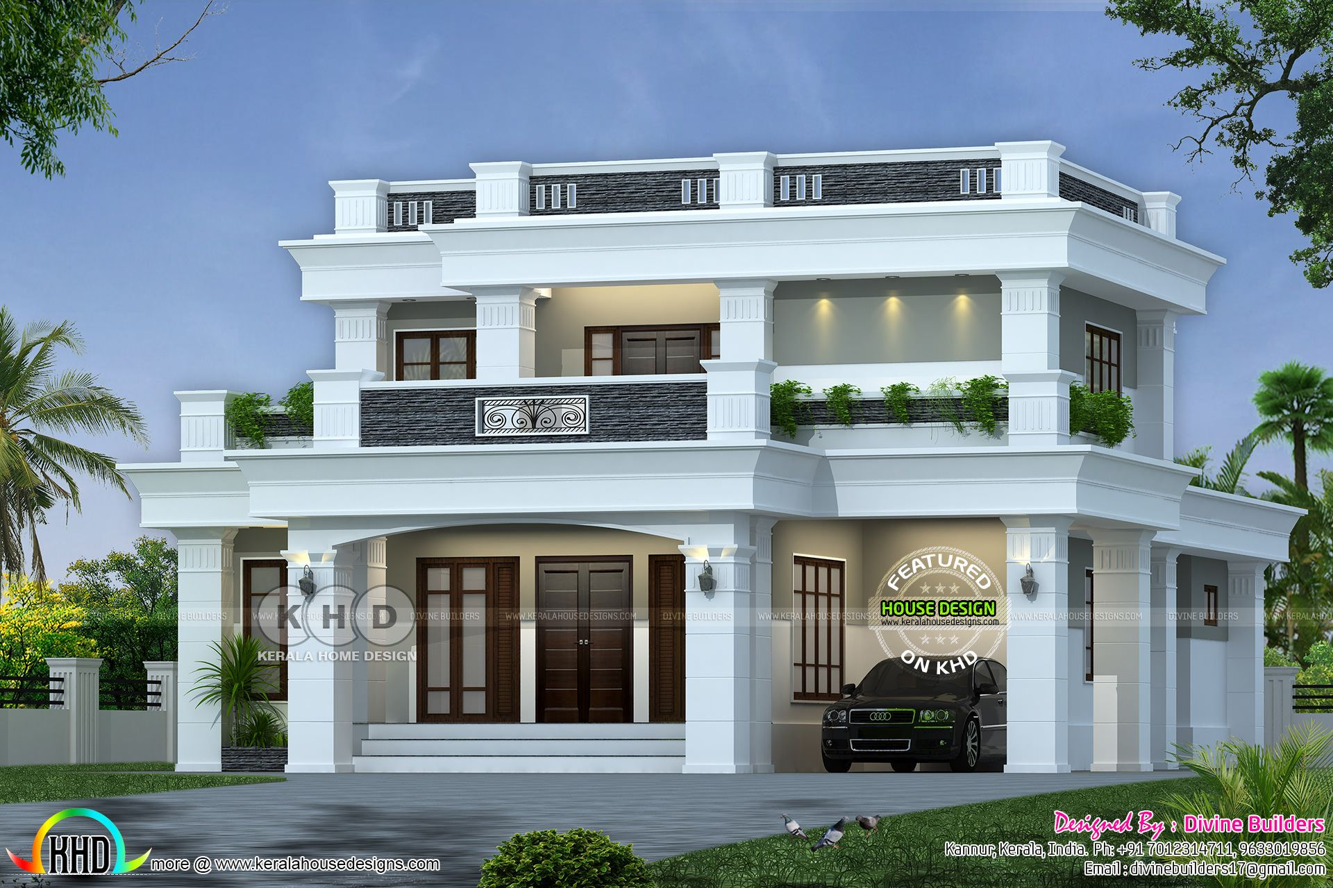 Best ₹40 Lakhs Cost Estimated Decorative Flat Roof Home 400 x 300