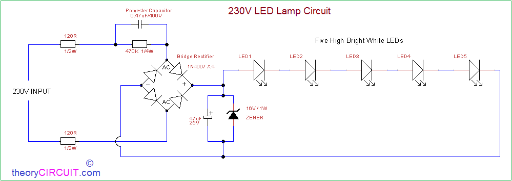 Ac Powered 230v Led Circuit In 2020 Circuit Ac Power Step Down Transformer