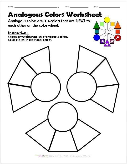 Analogous Colors Worksheet Color art lessons, Art