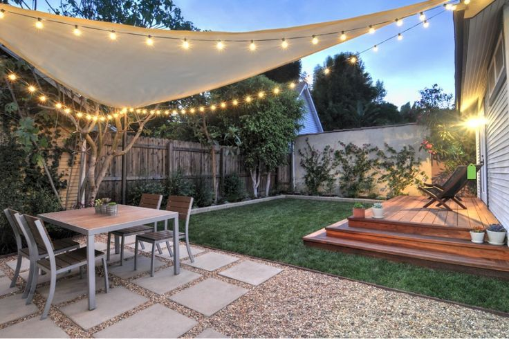 West Hollywood Back Yard Redwood Platform Deck Gravel Square Paver Patio Sail Shade String Lights Landscape Design