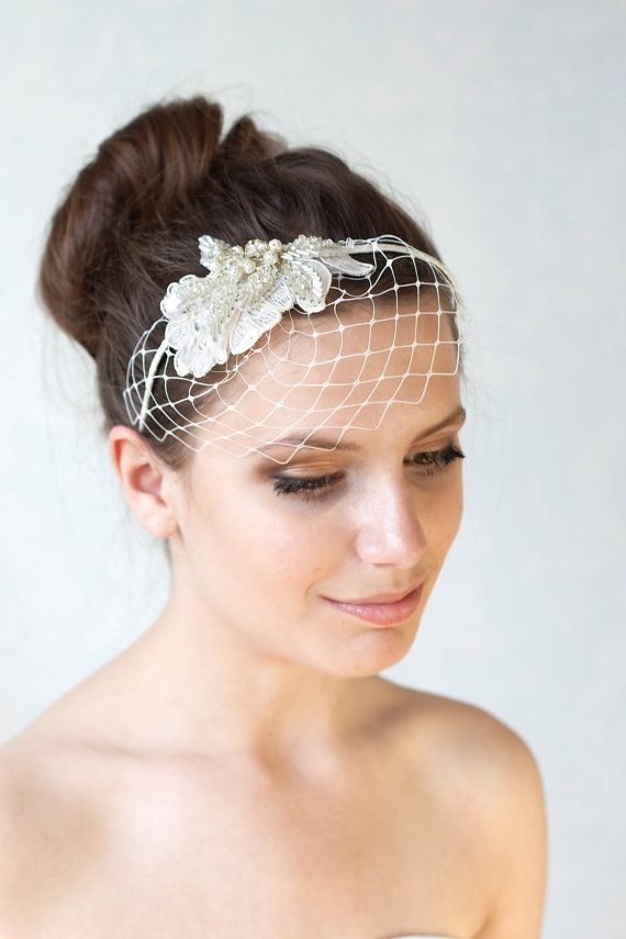 Bridal Ivory Birdcage Veil With Swarovski Crystal Beads Wedding Headband