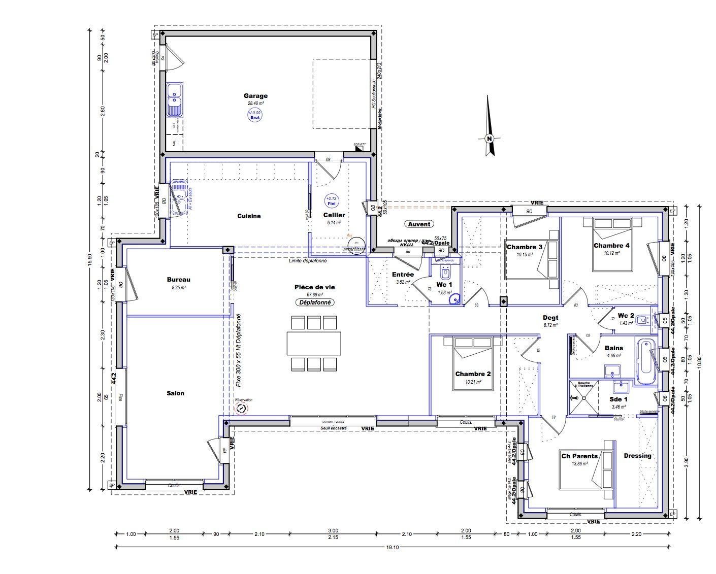 plan de maison rectangulaire plain pied 150m2