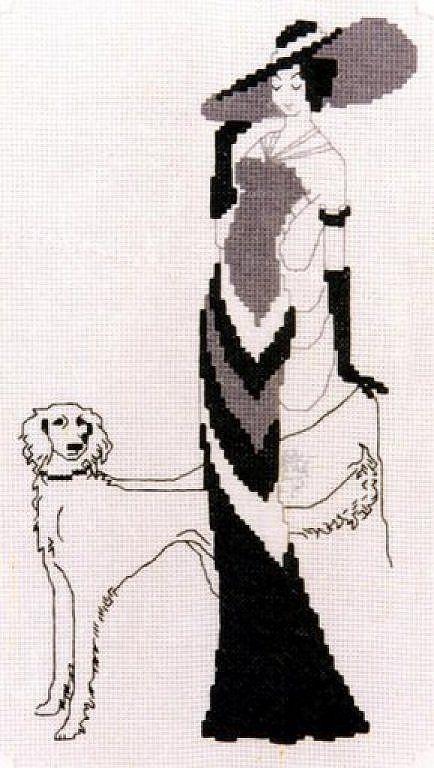 0 point de croix femme élégante et lévrier - cross stitch elegant lady and greyhound 1