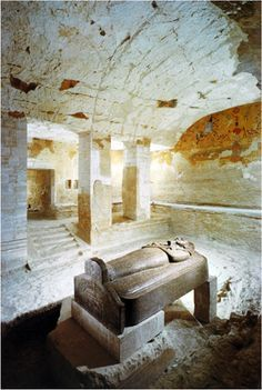 *EGYPT ~ The tomb of Merenptah in the Valley of the Kings, 19th Dynasty. Merenptah in his spectacular linen garments hangs with Ra-Horakhty; the anthropoid sarcophagus of Merenptah in the sunken portion of his burial chamber.