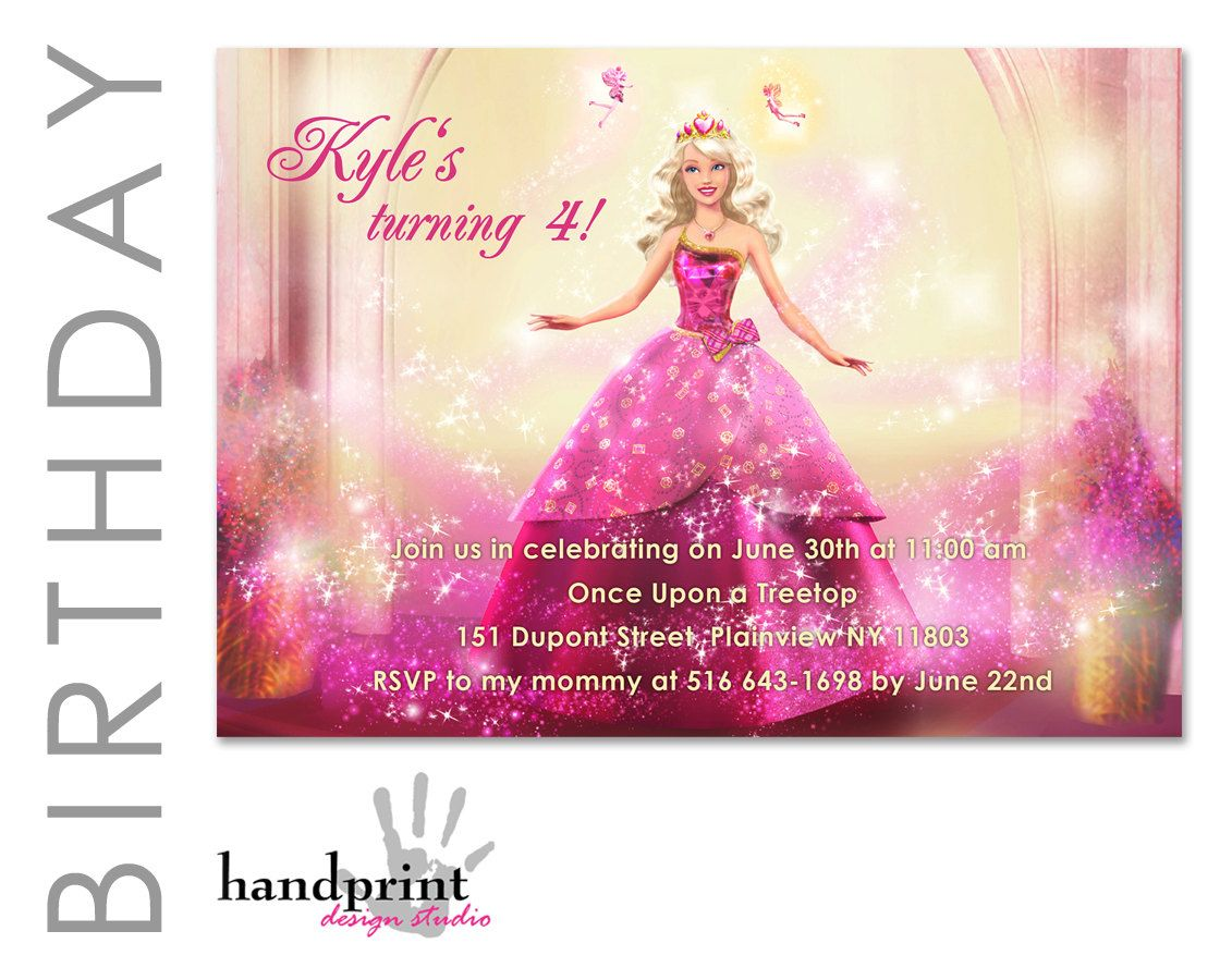 Pin Free Barbie Party Invitations Princess Printable On Pinterest