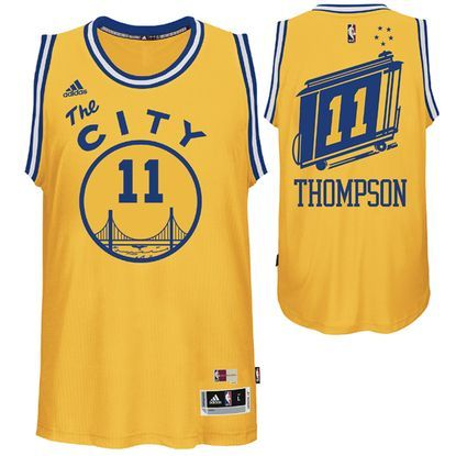 97b23a1cf Cheer on Klay Thompson and your Golden State Warriors with this 2015  Swingman Retro Jersey.The retro Warriors jersey is a hardwood classics  jersey that ...