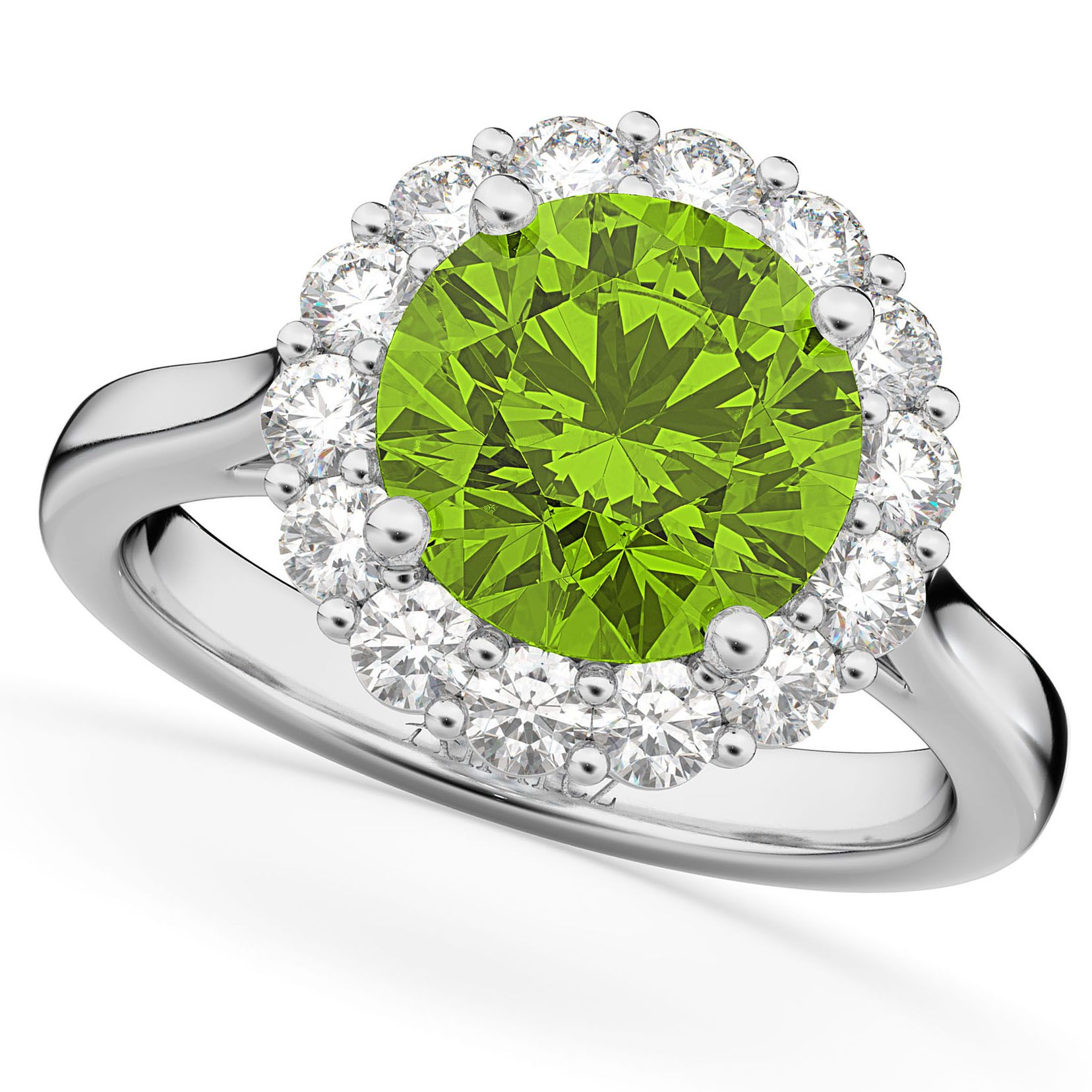 peridot gold products brilliant round ring rings diamond halo white dublin ireland engagement campbell jewellers